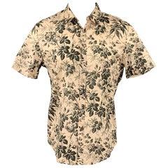 GUCCI Size M Beige Floral Cotton Button Up Short Sleeve Shirt