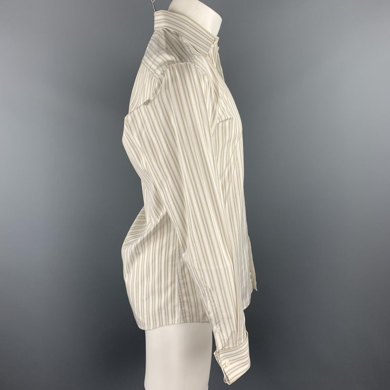 GUCCI long sleeve shirt comes in a beige stripe cotton featuring a button up style, french cuffs, and a spread collar. Cufflinks not included. Discoloration on collar. As-Is. Made in Italy.  Good Pre-Owned Condition. Marked: