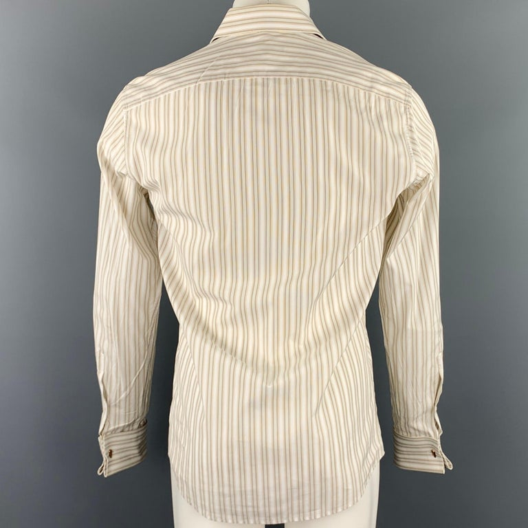 GUCCI Size M Beige Stripe Cotton French Cuff Long Sleeve Shirt In Good Condition For Sale In San Francisco, CA