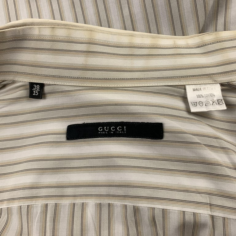 Men's GUCCI Size M Beige Stripe Cotton French Cuff Long Sleeve Shirt For Sale