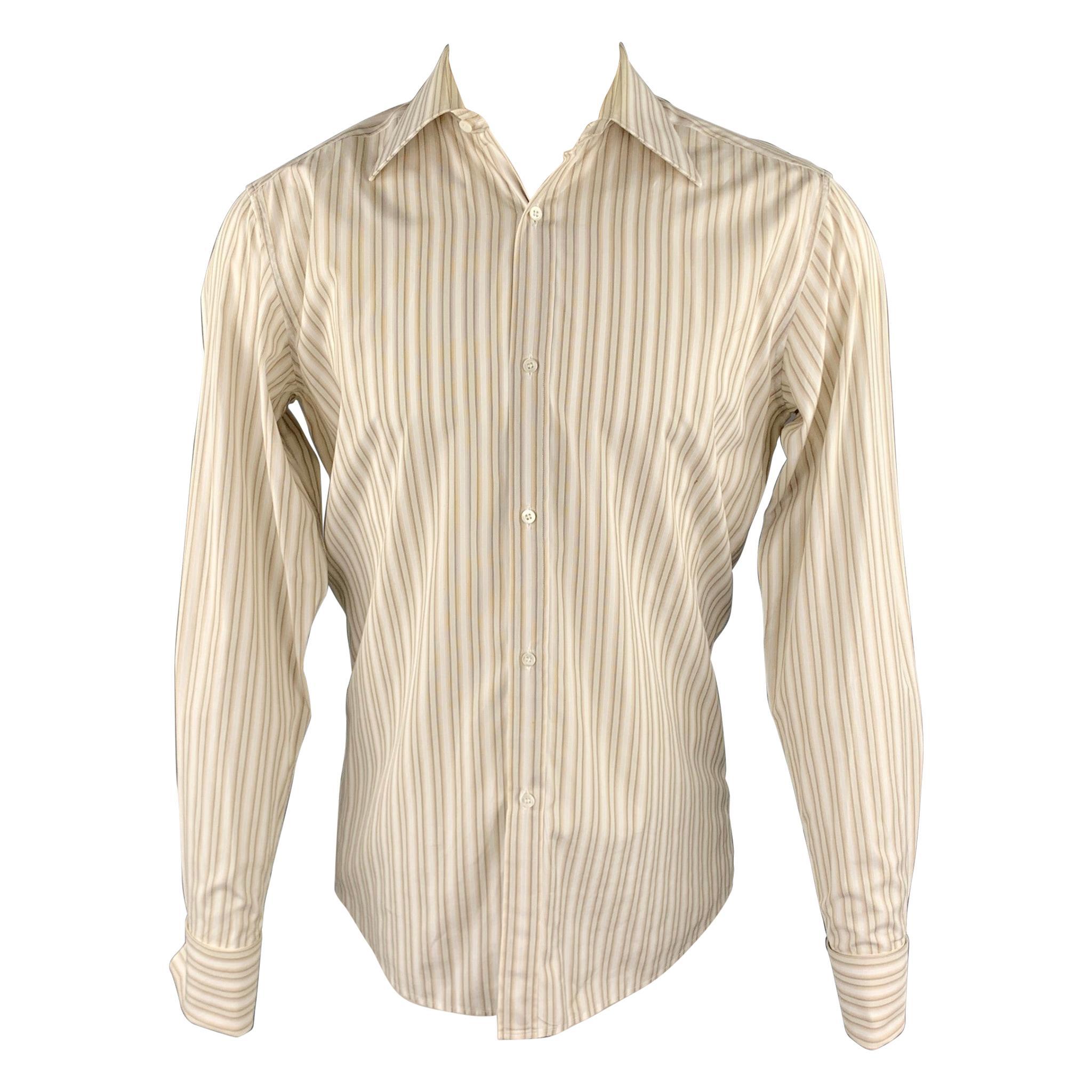 GUCCI Size M Beige Stripe Cotton French Cuff Long Sleeve Shirt