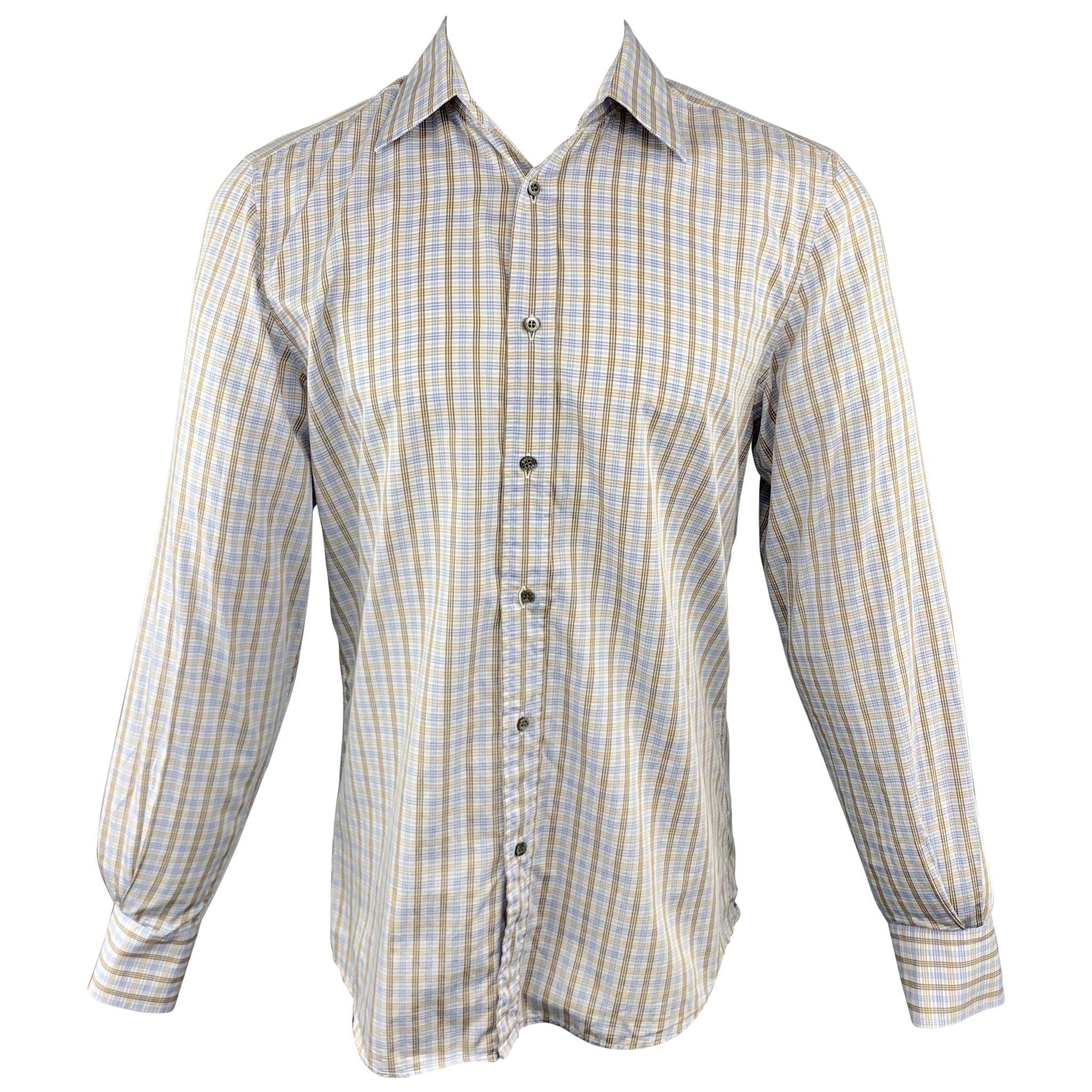 GUCCI Size M Blue & Brown Plaid Cotton Button Up Long Sleeve Shirt