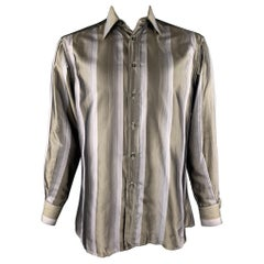 GUCCI Size M Taupe & Lavender Stripe Silk Button Up Long Sleeve Shirt
