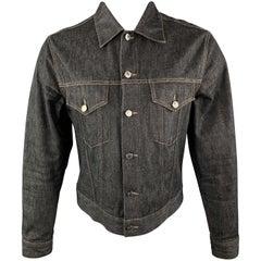 GUCCI Size S Navy Contrast Stitch Denim Trucker Jacket