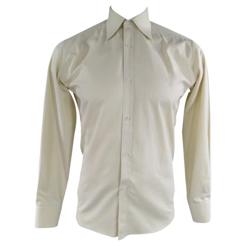 GUCCI Size S Pastel Yellow Striped Cotton Long Sleeve Shirt