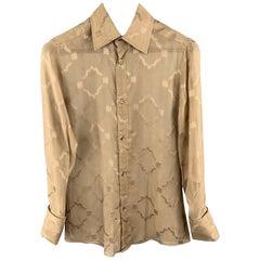 GUCCI Size S Tan Print Silk See Through French Cuff Long Sleeve Shirt