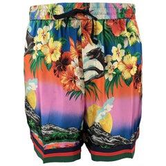 GUCCI Size XL Multi-Color Floral Print Silk Drawstring Shorts
