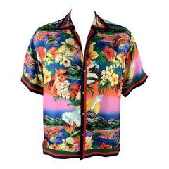 GUCCI Size XL Multi-Color Floral Silk Ribbon Trim Button Up Short Sleeve Shirt