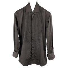 GUCCI Size XS Black Cotton Button Up French Cuffs Tuxedo Long Sleeve Shirt