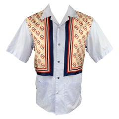 GUCCI Size XS Blue & Red Print Cotton / Silk Camp Short Sleeve Shirt