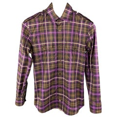 GUCCI Size XS Brown & Purple Plaid Cotton Patch Pockets Long Sleeve Shirt