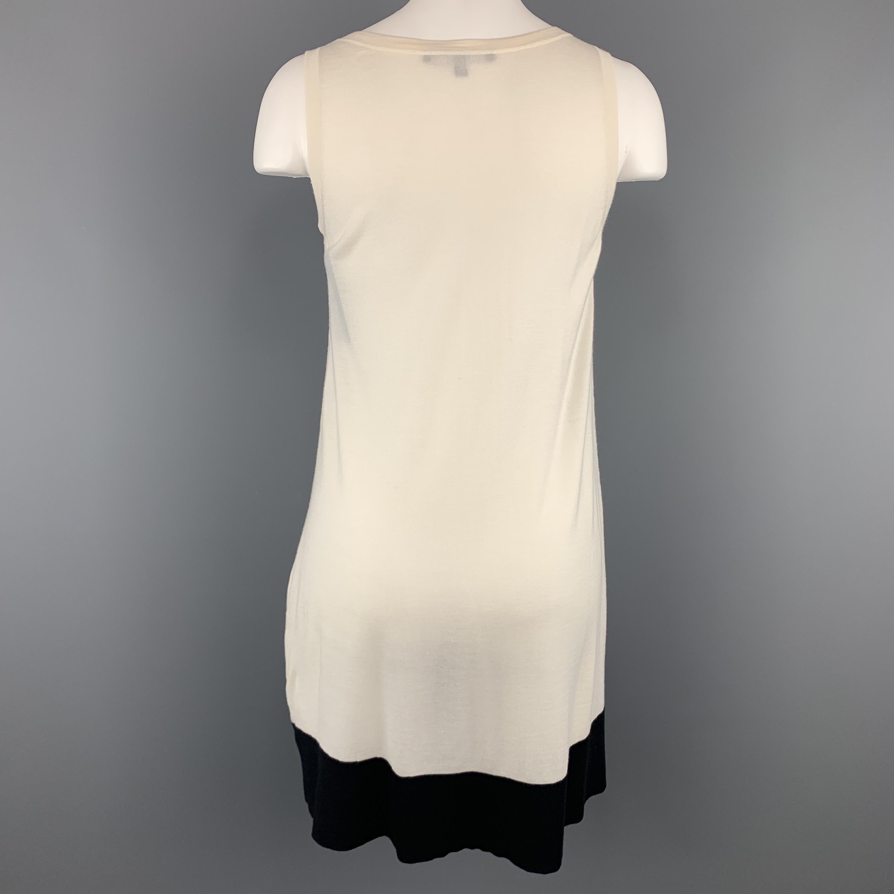813664727 GUCCI Size XS Cream and Black Silk Blend Knit Tank Dress For Sale at 1stdibs