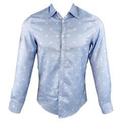 GUCCI Size XS Light Blue Jacquard Cotton Button Up Long Sleeve Shirt