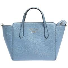 Gucci Sky Blue Pebbled Calfskin Leather Mini Swing Tote