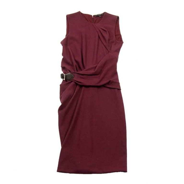 GUCCI Sleeveless Plum Dress in Wool Size L