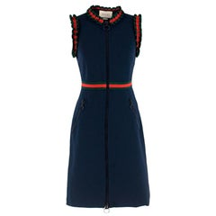 Gucci sleeveless web stripe ruffled dress S