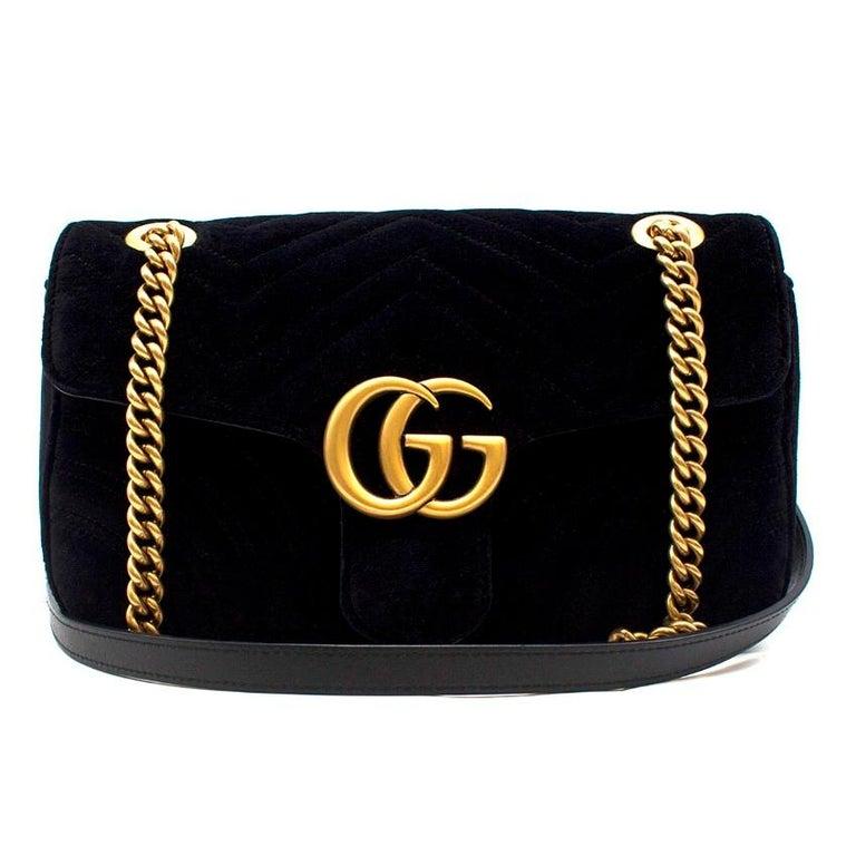 5c2ddc568892 Gucci Small Black Velvet GG Matelasse Marmont Bag - Black, chevron quilted  velvet - Antiqued