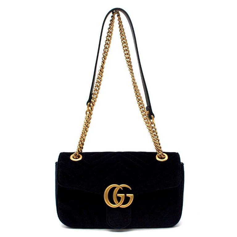 2fe2f7d75ede Gucci Small Black Velvet GG Matelasse Marmont Bag In Excellent Condition  For Sale In London,