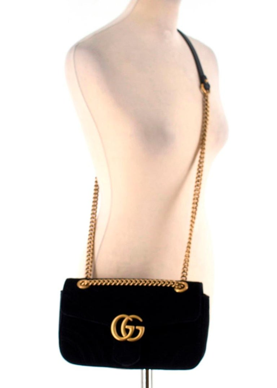 3eab2a575697 Gucci Small Black Velvet GG Matelasse Marmont Bag For Sale at 1stdibs