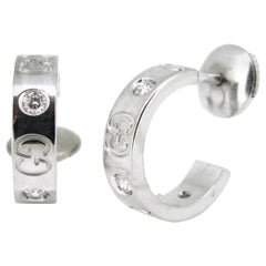 Gucci Small Icon Diamonds White Gold Hoop Earrings
