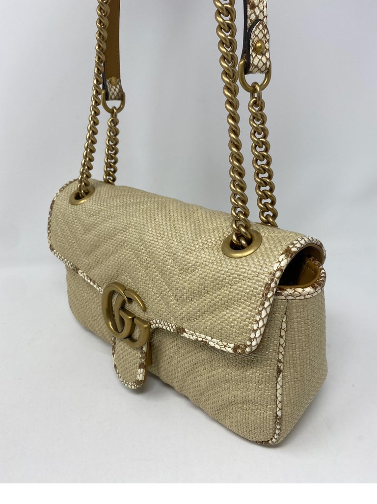 Gucci Small Marmont Straw Floral Interior Bag 6
