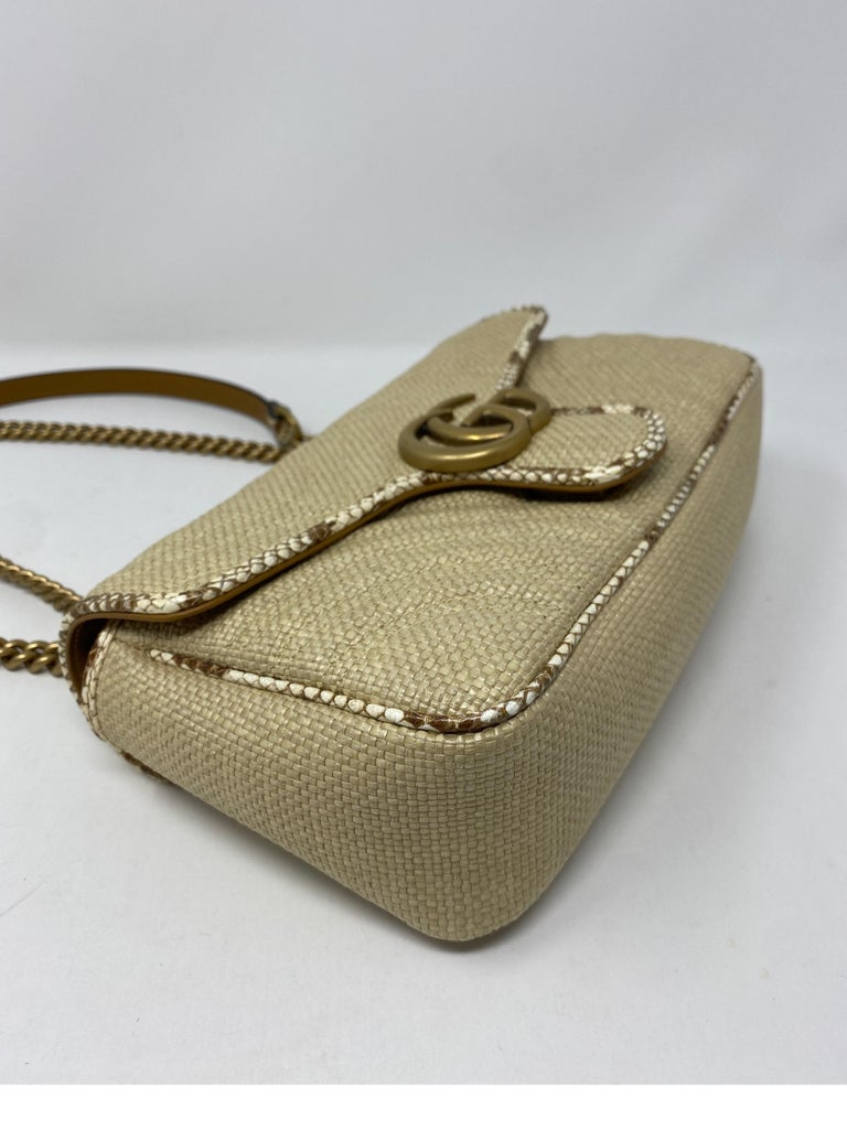 Gucci Small Marmont Straw Floral Interior Bag 9