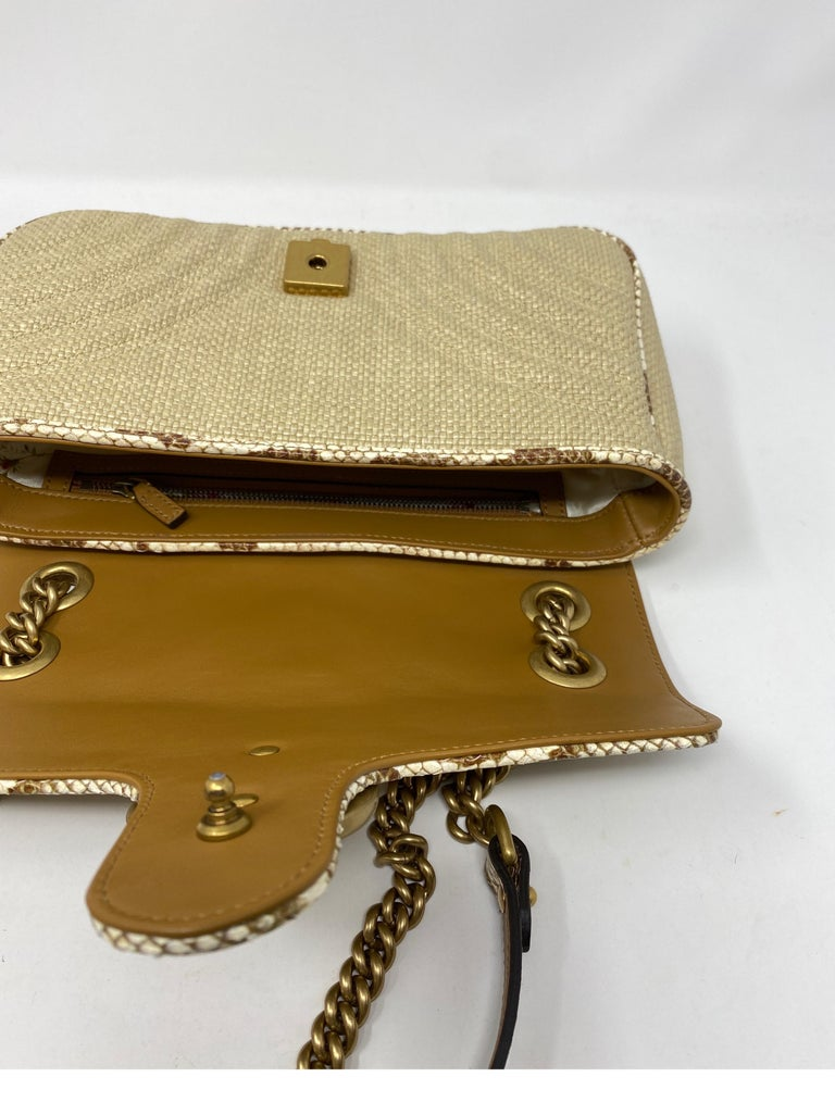 Gucci Small Marmont Straw Floral Interior Bag 12