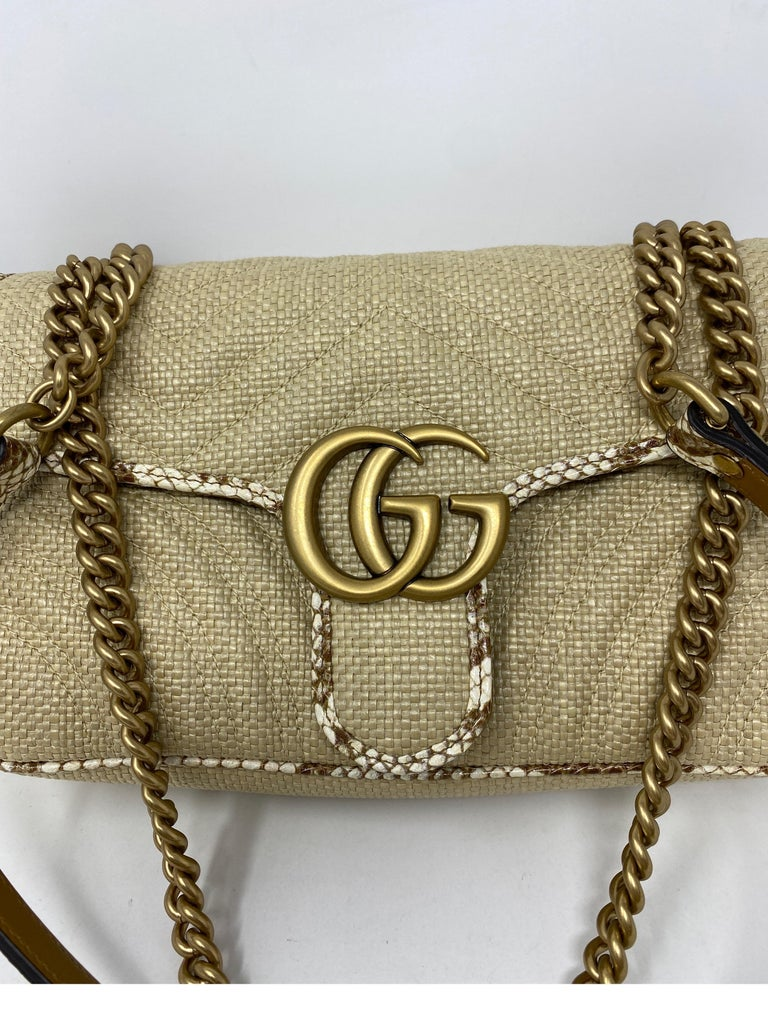 Brown Gucci Small Marmont Straw Floral Interior Bag