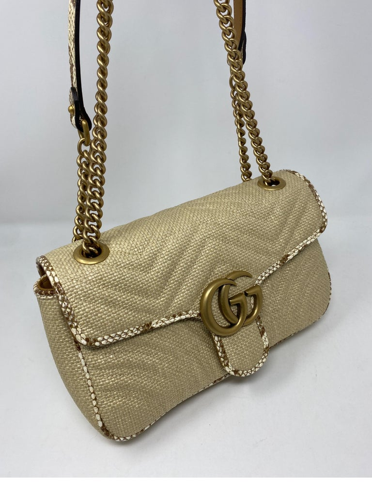 Women's or Men's Gucci Small Marmont Straw Floral Interior Bag