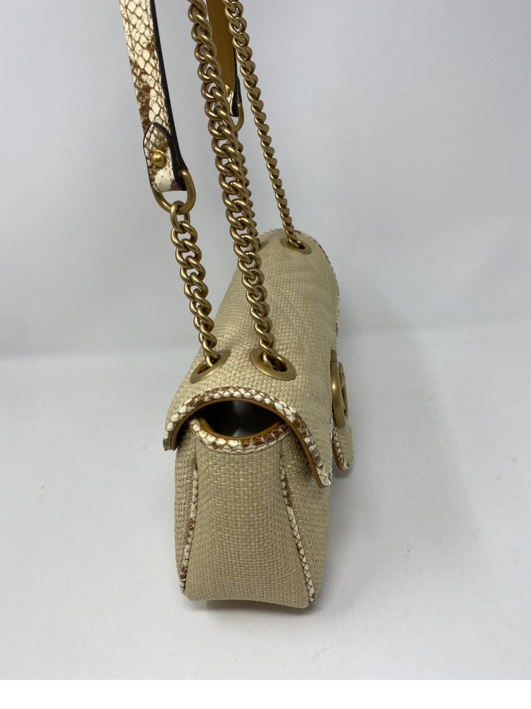 Gucci Small Marmont Straw Floral Interior Bag 1