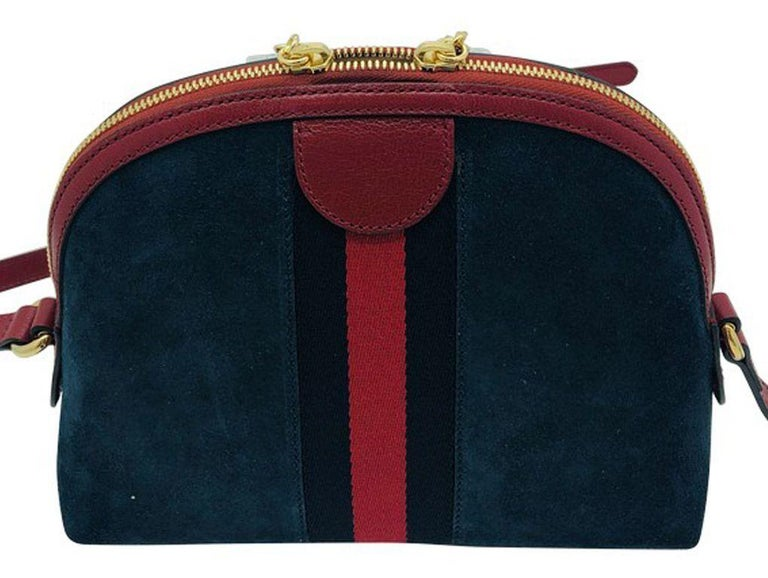 Black Gucci Small Ophidia Blue Shoulder Bag/Cross body - Blue Suede -New