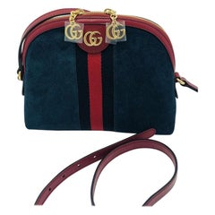 Gucci Small Ophidia Blue Shoulder Bag/Cross body - Blue Suede -New