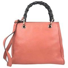 Gucci Small Peach Bamboo Shopper Bag