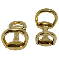 Gucci Snaffle Horsebit Cufflinks in 18K Yellow Gold