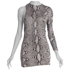 1990S Ton Ford Gucci Snakeskin Print Silk Jersey Iconic One Sleeve Cocktail Dre