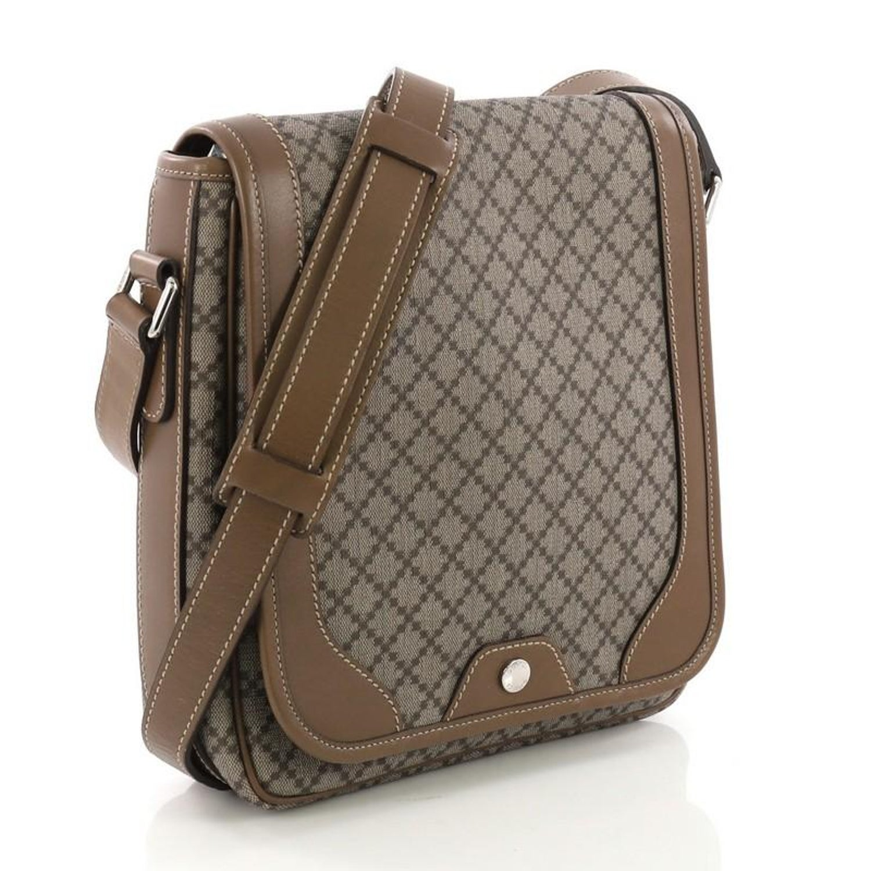 291e61c1127683 Gucci Snap Flap Messenger Bag Diamante Coated Canvas Medium at 1stdibs