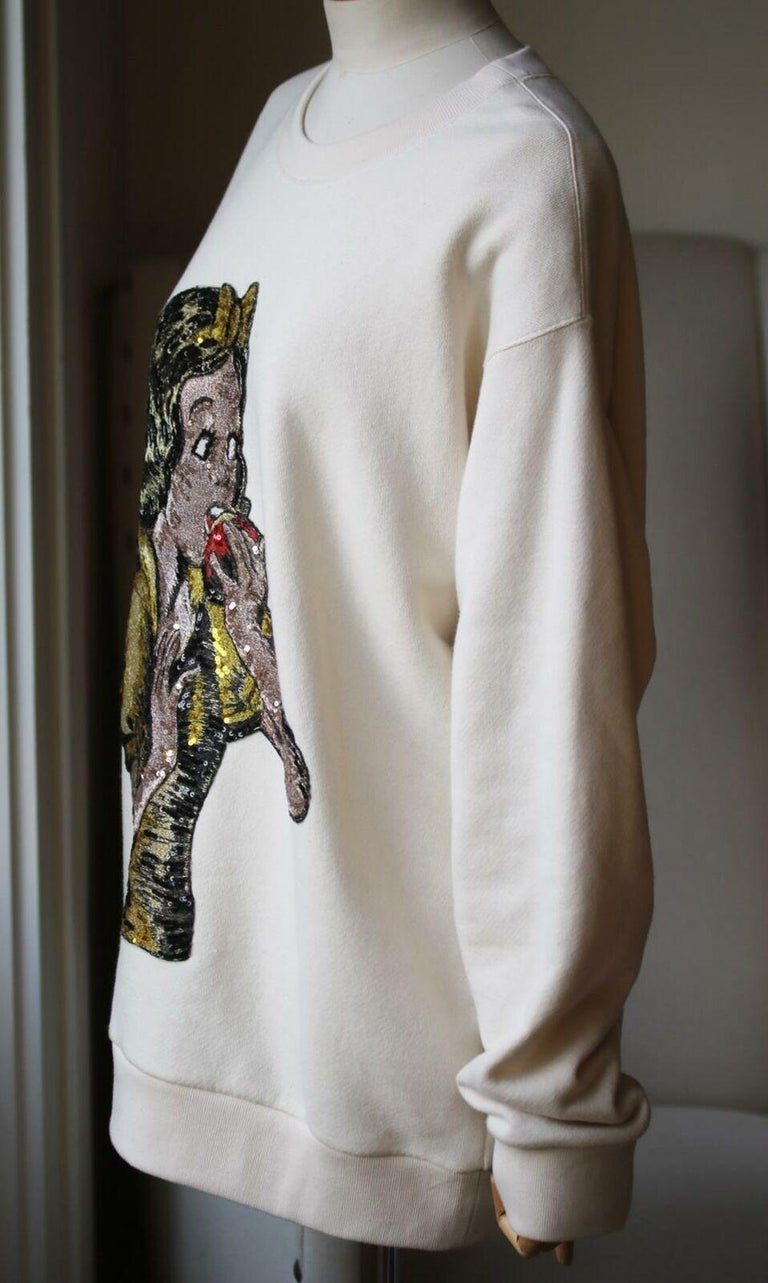 Gucci Snow White Sequin-Embellished Cotton-Jersey Sweatshirt  In Excellent Condition For Sale In London, GB