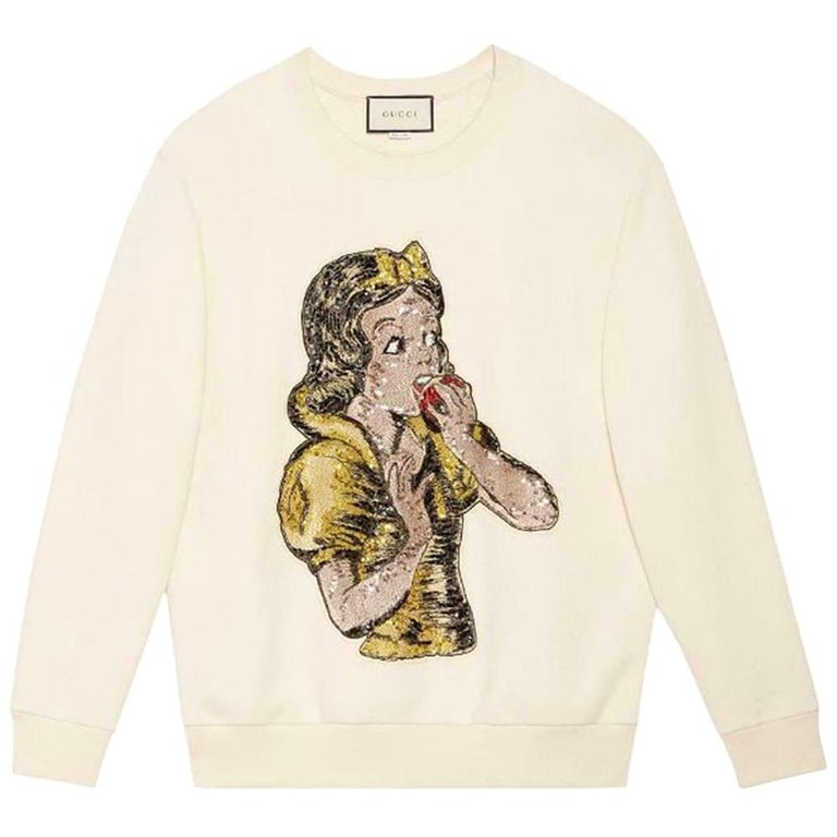 Gucci Snow White Sequin-Embellished Cotton-Jersey Sweatshirt  For Sale