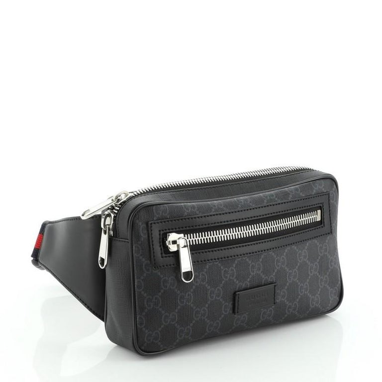 Gucci Soft Zip Belt Bag GG Coated Canvas Small In Good Condition For Sale In New York, NY