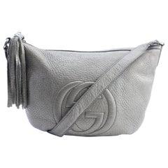 Gucci Soho 223249 Silver Pebbled Leather Messenger Bag