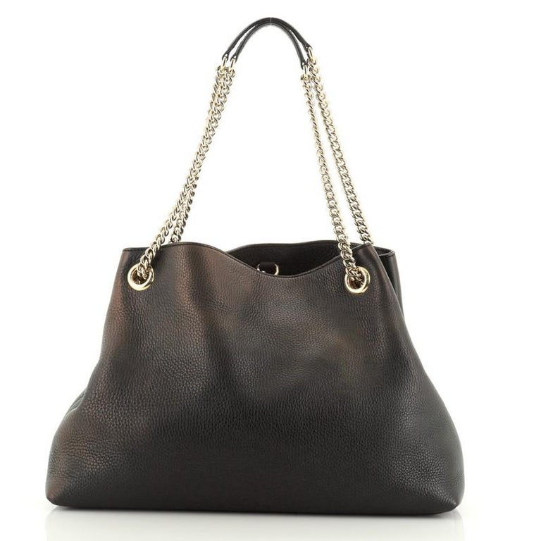 Gucci Soho Chain Strap Shoulder Bag Leather Medium In Fair Condition For Sale In New York, NY