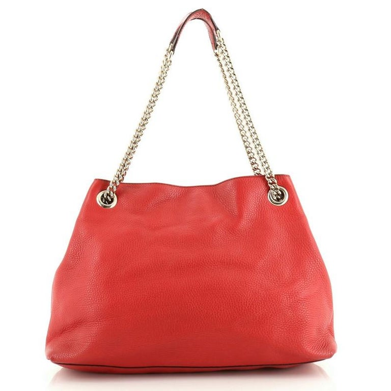 Red Gucci Soho Chain Strap Shoulder Bag Leather Medium For Sale