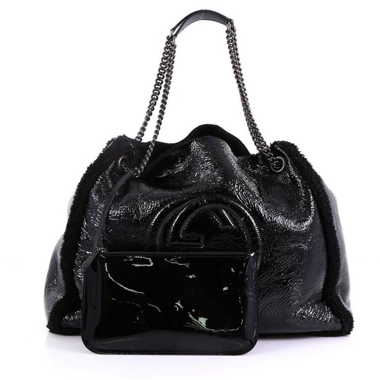 d704e4164 Gucci Soho Chain Strap Shoulder Bag Patent and Shearling Medium at 1stdibs