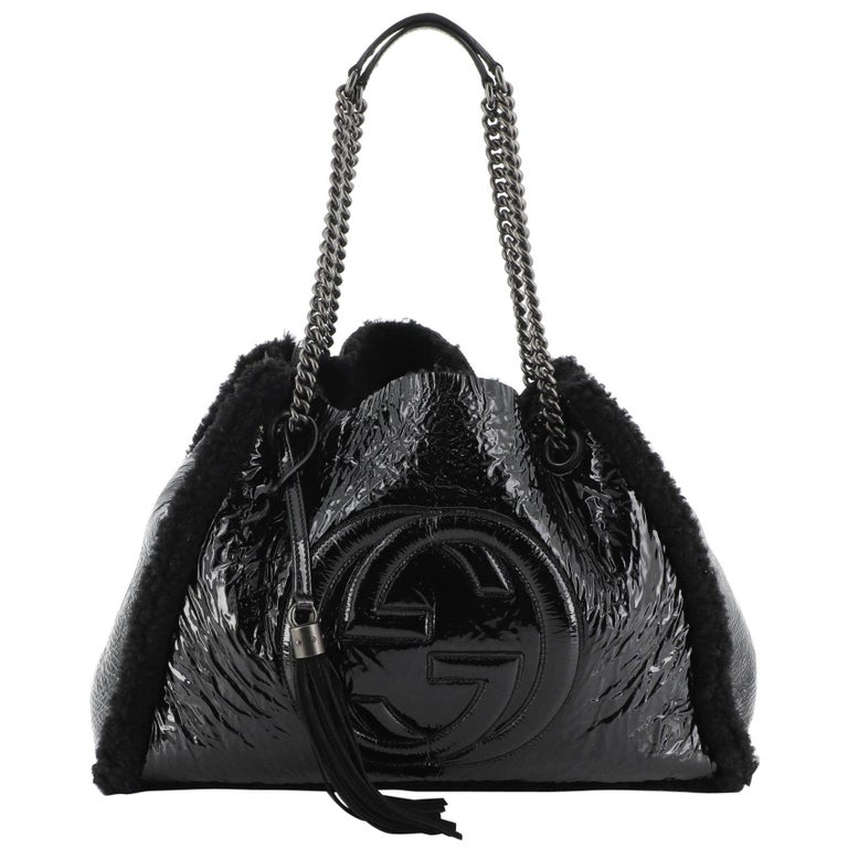 Gucci Soho Chain Strap Shoulder Bag Patent and Shearling Medium For Sale