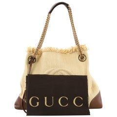 Gucci Soho Chain Strap Shoulder Bag Straw and Leather Medium