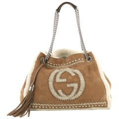 Gucci Soho Chain Strap Shoulder Bag Studded Suede with Shearling Medium