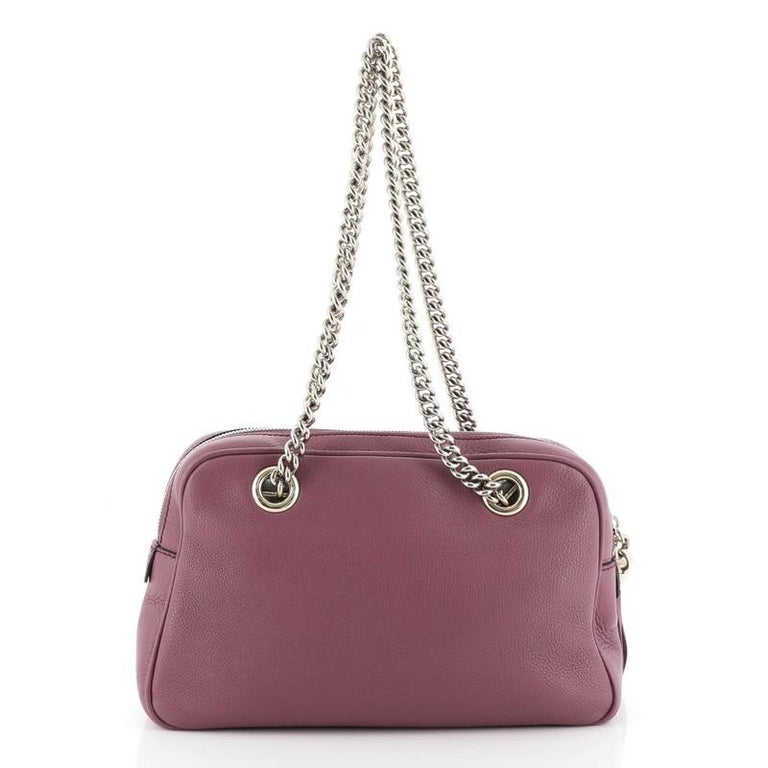 Gucci Soho Chain Zip Shoulder Bag Leather Small In Good Condition For Sale In New York, NY