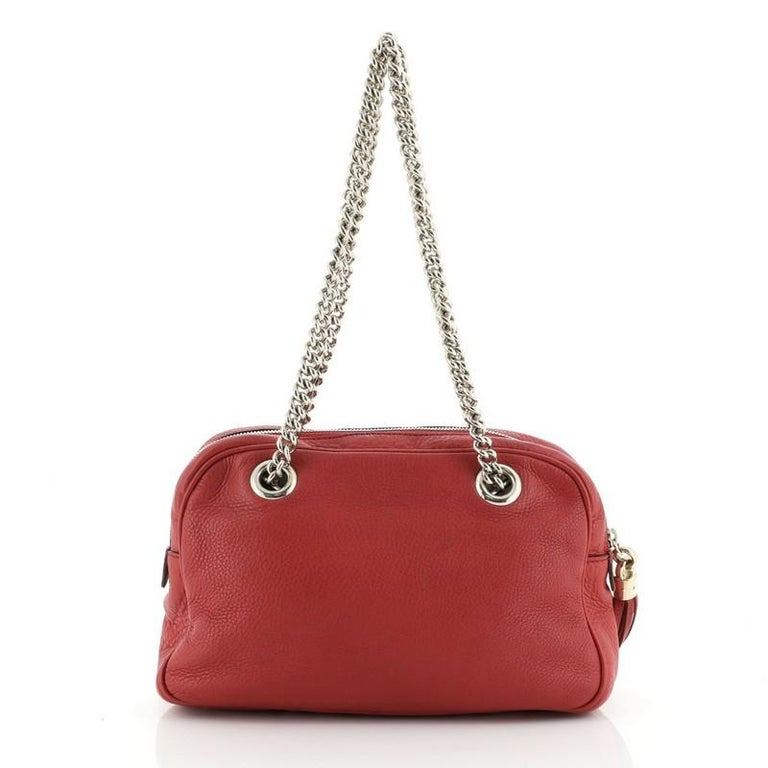 Red Gucci Soho Chain Zip Shoulder Bag Leather Small