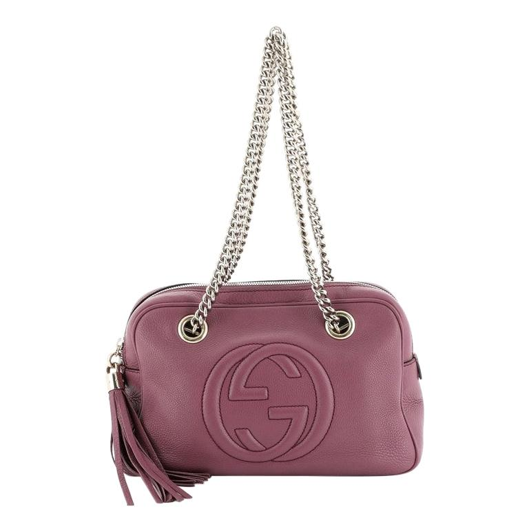 Gucci Soho Chain Zip Shoulder Bag Leather Small For Sale