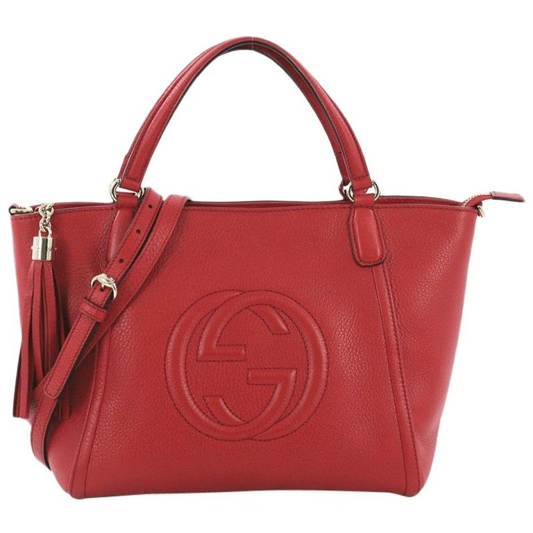 173d663fbbdc Gucci Soho Convertible Top Handle Bag Leather Medium For Sale at 1stdibs